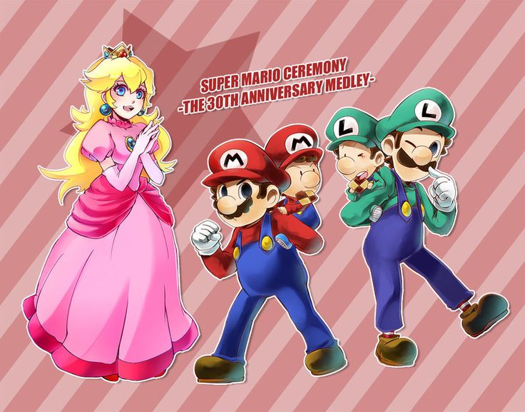 Super Mario and Luigi us Peach and babies by Maki123Happy
