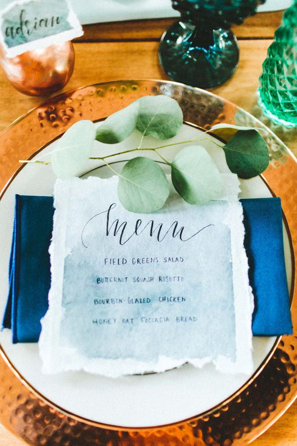 Modern place setting with a watercolor menu   Something Blue for Weddings   Tablescapes   China   Dinnerware   Registry