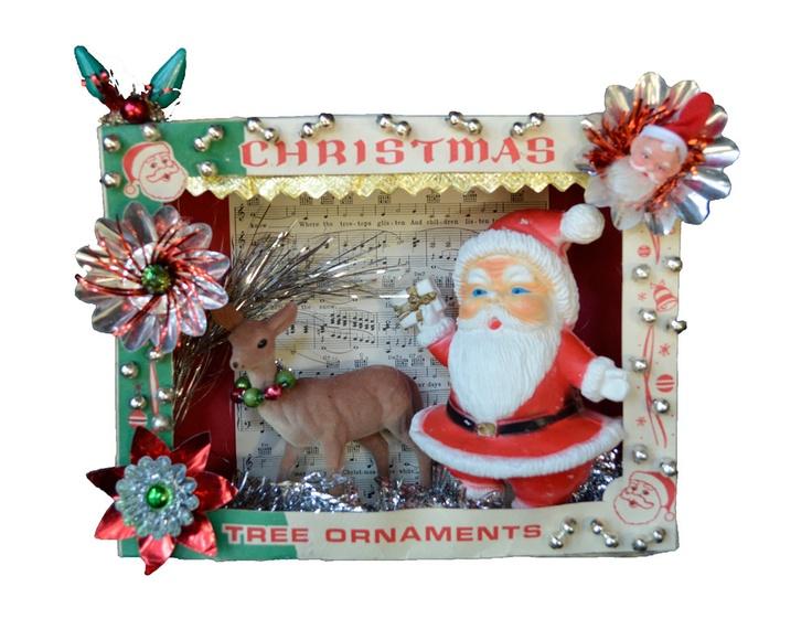 Vintage Christmas Shadowbox Diorama Jolly Old Santa Claus.
