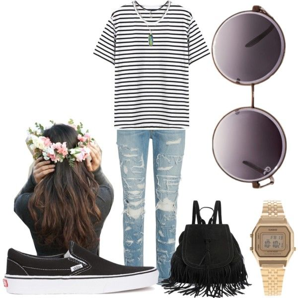 Boho. Floral crown. Backpack. Casio watch. Vans slip-on. Hipster.