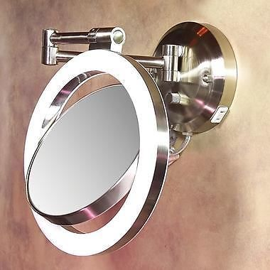 10x 1x Magnifying Round Lighted Wall Mirror Swing Arm