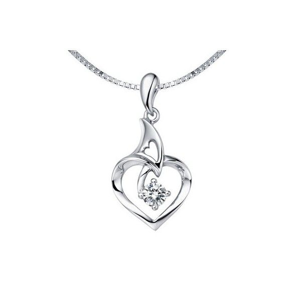 Heart Shape Diamond Affordable Pendant on 10k White Gold
