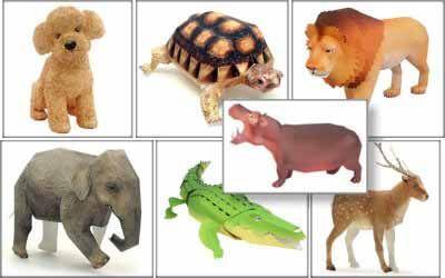 Животные. Поделки из бумаги (собачка, черепаха, лев, слон, крокодил, олень, бегемот) - 22 Декабря 2015