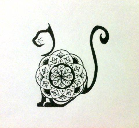 Mandala Cat tattoo idea My