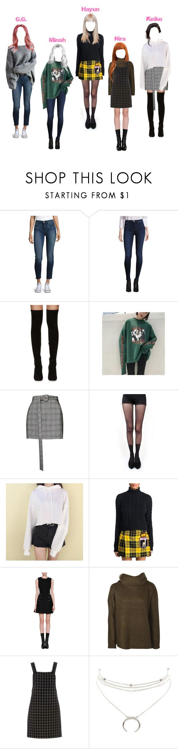 """""""pink suga 22"""" by ohfkthis ❤ liked on Polyvore featuring 7 For All Mankind, J Brand, Jimmy Choo, Magda Butrym, Pretty Polly, Miu Miu, Alexander McQueen, Dorothy Perkins, FARIS and Charlotte Russe"""