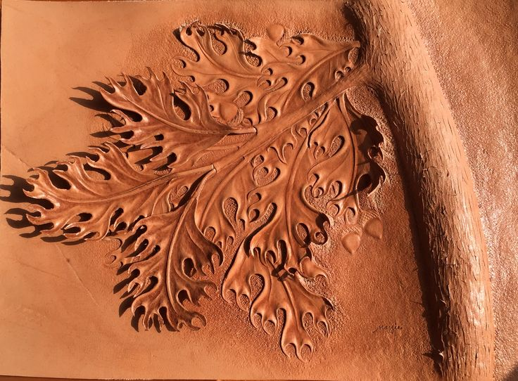 Oak tree tooling and modeling leather carving