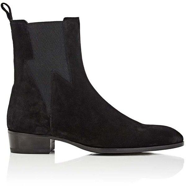 Barbanera Men's Starman Suede Chelsea Boots ($750) ❤ liked on Polyvore featuring men's fashion, men's shoes, men's boots, black, mens boots, mens black suede chelsea boots, mens black boots, mens slip on boots and mens black suede shoes