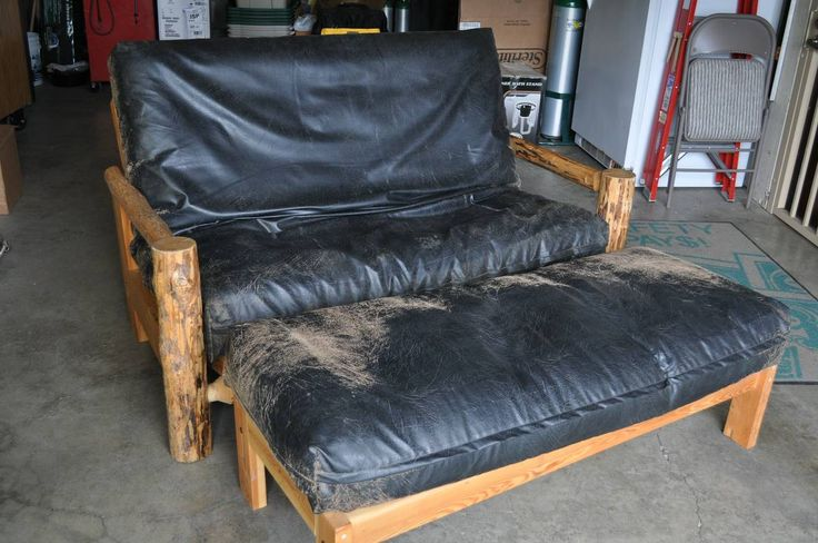 futon loveseat design ideas. Rustic futon frame with leather cover.