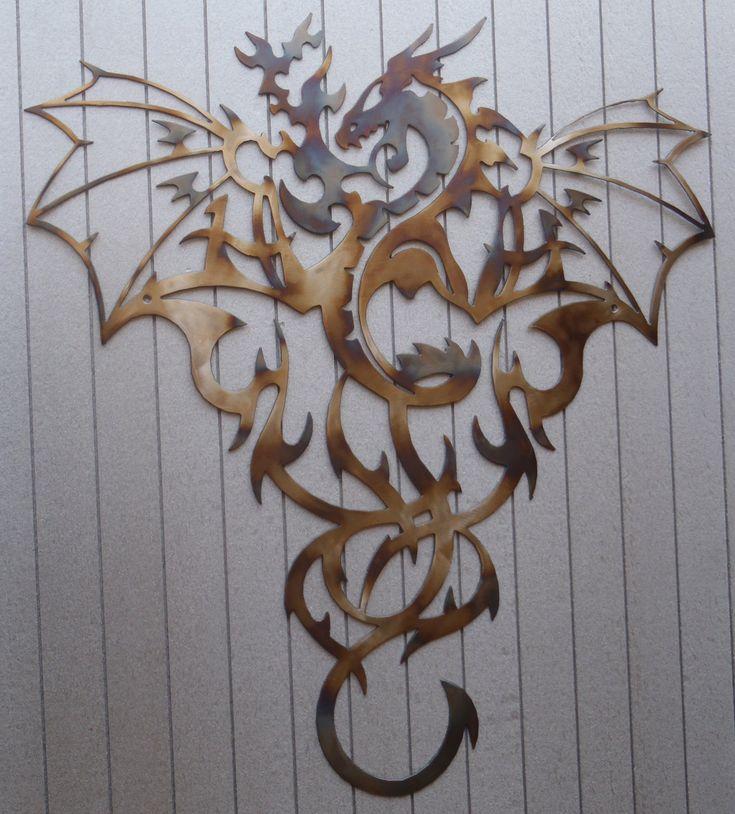Dragon, Heat Colored Metal Art, Wall Decor, Great Gift | Art walls ...