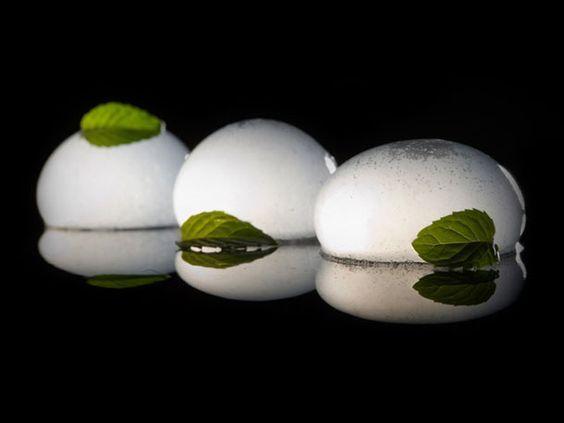 Jelloo shots. carbinated mojito spheres(liquid inside)