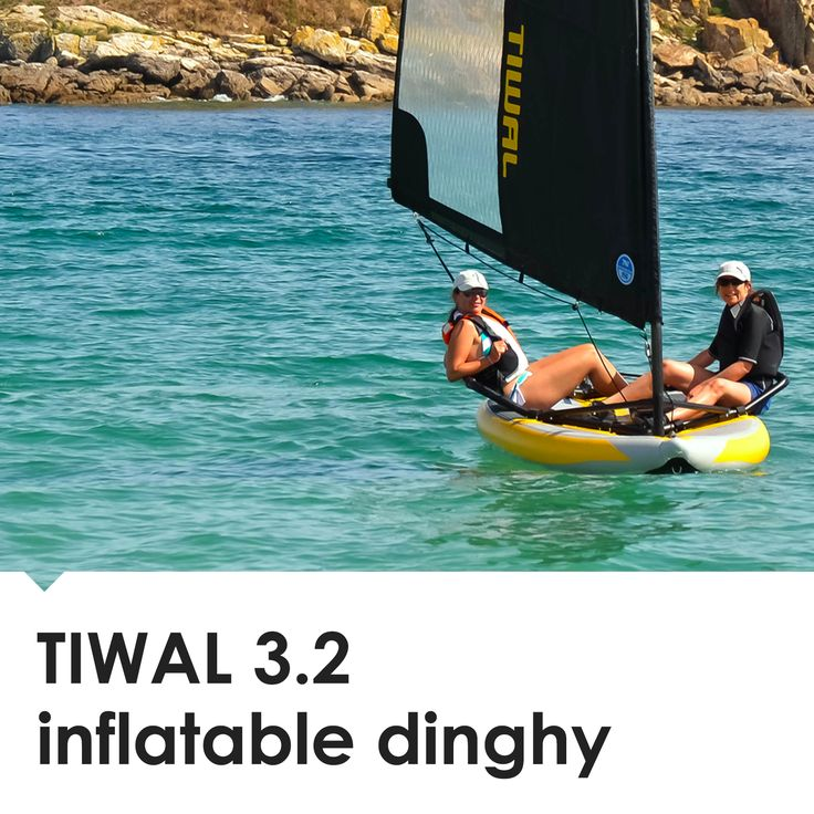 The TIWAL 3.2 inflatable performance dinghy draws aesthetic inspiration from military stealth aircraft.