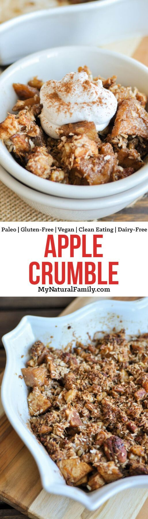 This Paleo apple crumble is a healthy dessert made without refined sugar and is easy to make with a simple pecan and walnut topping. {Gluten-Free, Clean Eating, Dairy-Free, Vegan}