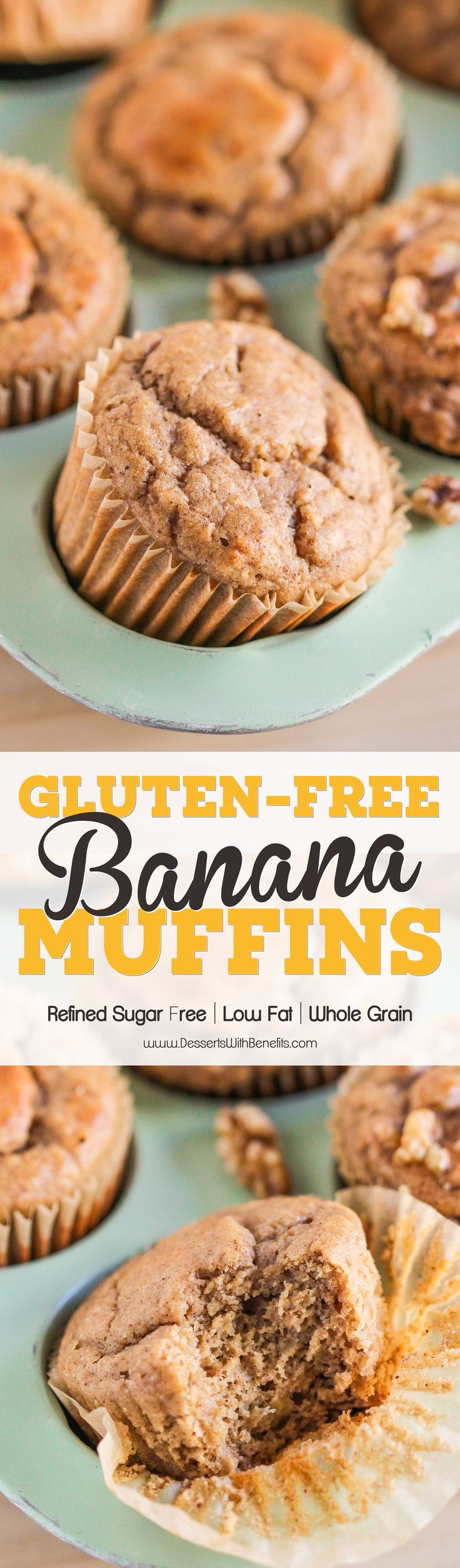These are the ULTIMATE Healthy Banana Muffins! So fluffy, moist, sweet, and packed with banana bread flavor, you'd never guess that these have NO butter and NO sugar added. These Banana Muffins are low calorie, low fat, refined sugar free, gluten free, AND dairy free, but they sure don't taste like it! #nosugaradded #sugarfree #glutenfree #lowfat #lowcalorie