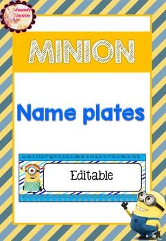 Looking for Name Plates? Look no further with this set of Minion Name Plates! In this product you will find two name plate designs. The first design has a number line to 20 and the letters of the alphabet. The second design has a minion peeking around the edges of a frame and room for the students name.