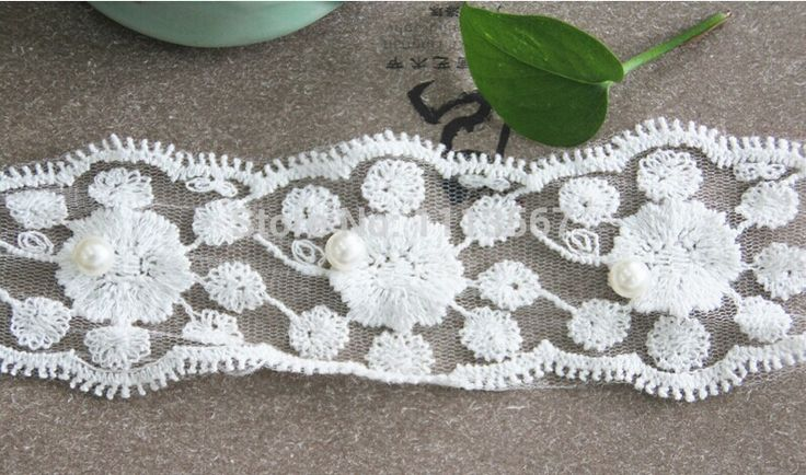 30 yards Craft Bej Fake Pearls Boncuk Çiçek Şerit Trim Dekore Dantel Şerit Trim DIY Elbise Düğün Giyim Için Trim T258(China (Mainland))