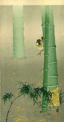 Koson Ohara 1877-1945    Tree sparrow and bamboo, Japan