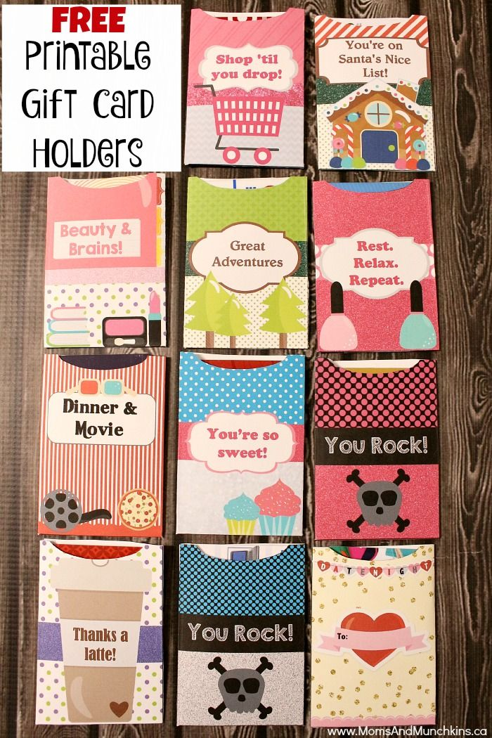 These free printable gift card holders include something for everyone! Shopaholic, date night, spa, teens, adventurous and more! Simply print, cut & glue.