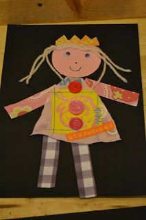 The Hundred Languages of Children: All About Me - Part 2; Cute self-portraits using paper, fabric scraps & yarn