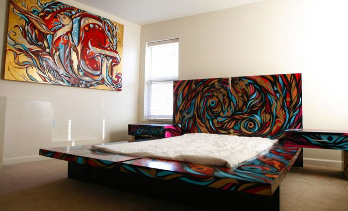 graffiti slaapkamer bed