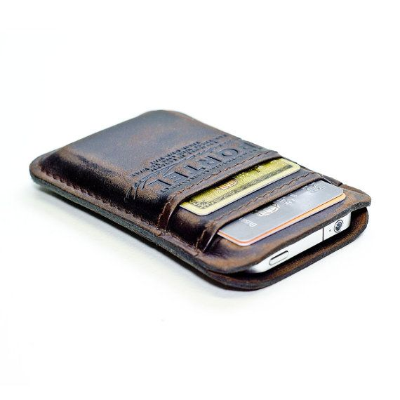 aged leather pocket for iphones, cards, and other such things.