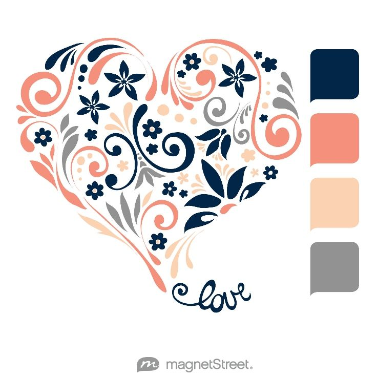 Navy, Coral, Peach, and Classic Gray Wedding Color Palette - free custom artwork created at MagnetStreet.com