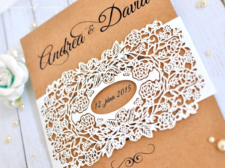 Ivory Roses Kraft laser cut wedding invitation
