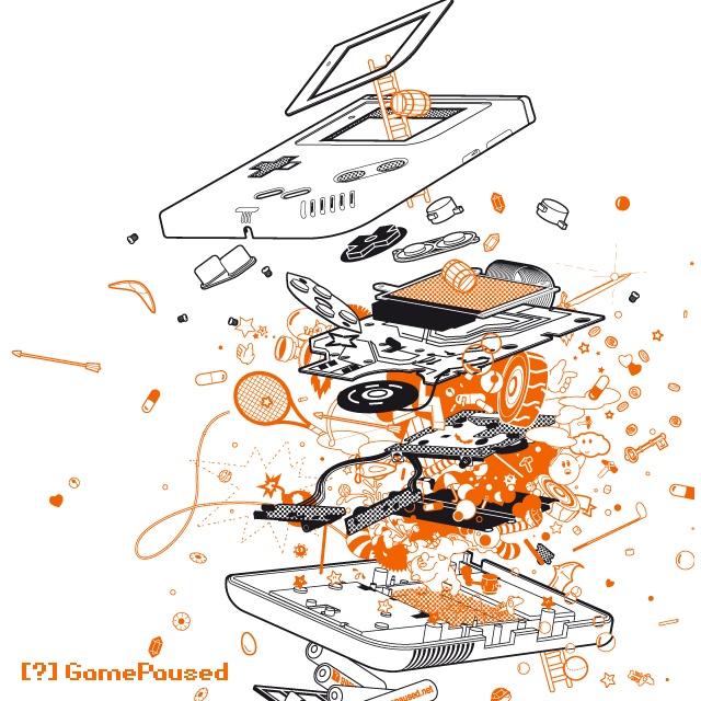 Exploded GameBoy.