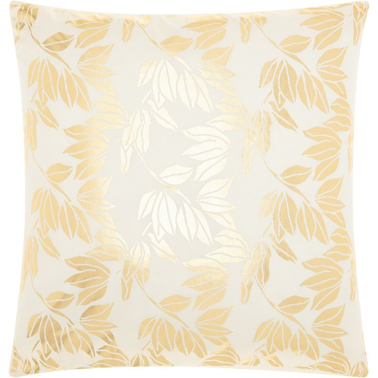 "Nourison Mina Victory Luminecence Olive Leaves Ivory Gold Throw Pillow (18"" x 18"") (Ivory Gold, 18"" x 18""), Size 18 x 18"