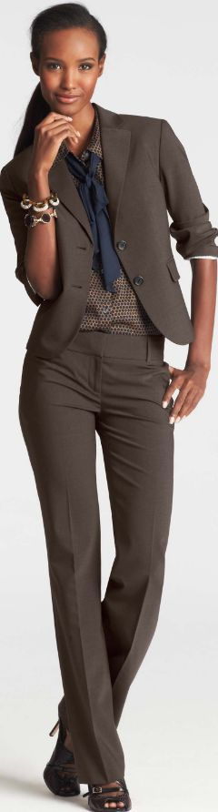 Work Outfit - Business Casual - Brown Suit  Dotted Silk -5716