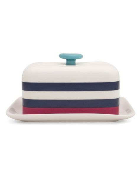#easter #table #decoration #joules #butter #dish #stripes #blue #pink 36,00 € in our Lovely Shop https://www.goodshaus.com/Butterdose-Streifen-Joules