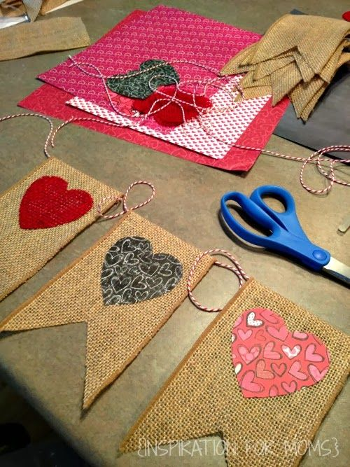 Cute burlap Valentines heart banner! Use burlap ribbon with a finished edge! Great idea