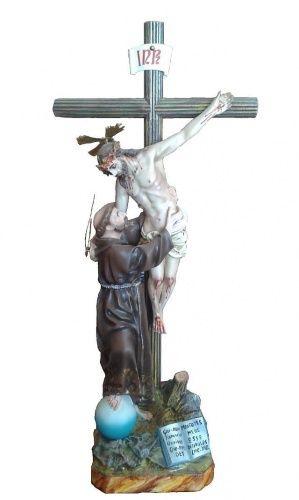Statua spagnola della visione di San Francesco da cm 60 in pasta di legno