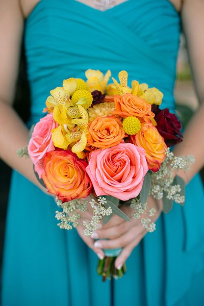 Свадебный букет бирюзовый с желтым, свадебные