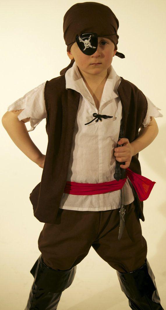 Boys Pirate costume brown, red sash, white shirt