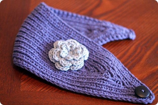 purple ear warmer....pattern via ravelry