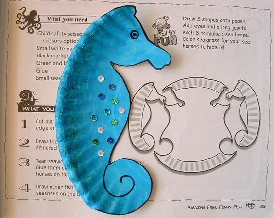 Sea horse made of paper plate + lots of ideas of crafting for kids and kids event with paper plates:
