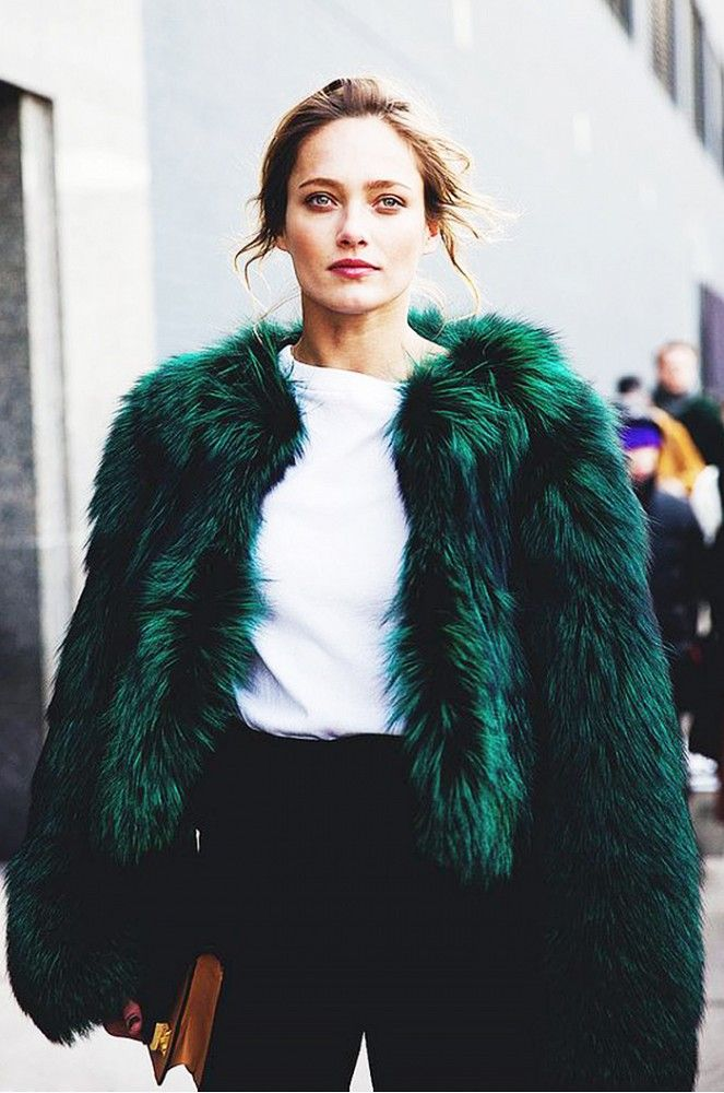 Furry green jacket street style via Clare V                                                                                                                                                                                 More