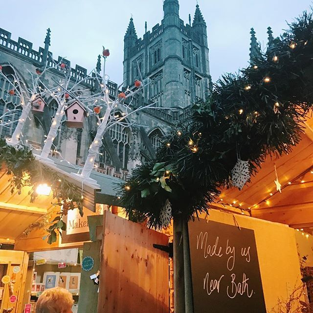 """""""We stopped off in Bath & had a wonder around the Christmas Markets on our way home from Devon yesterday! I love my old stomping ground so much, especially at Christmas with all the pretty lights & carol singers! (You'll see all in my vlog today at 4pm GMT - link in my bio) """" -Zoella"""