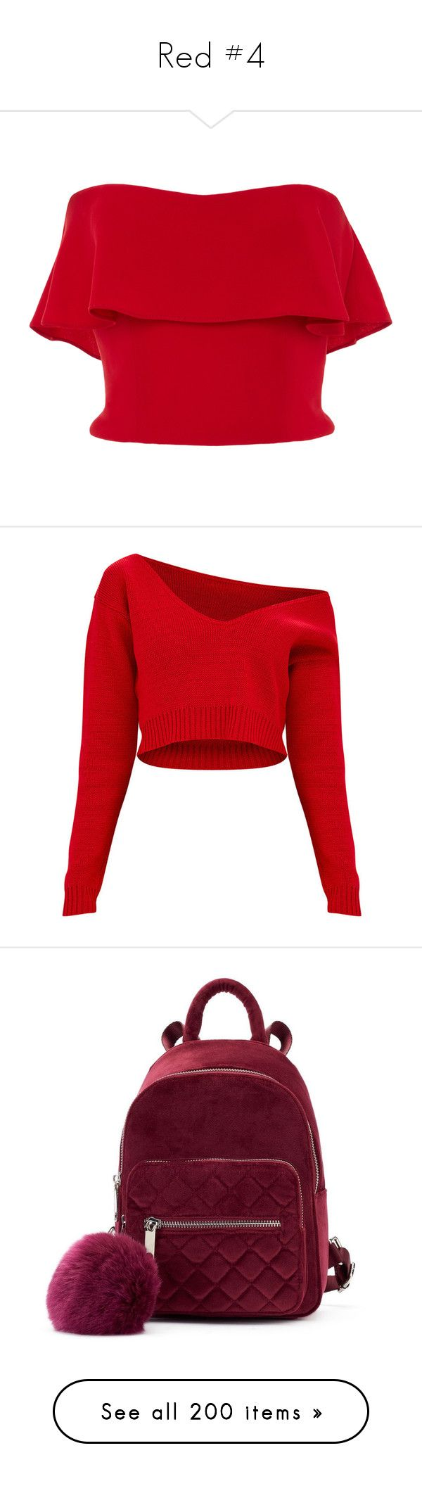 """Red #4"" by ultimateginger ❤ liked on Polyvore featuring tops, shirts, crop tops, red, strapless shirts, red top, red strapless shirt, strapless crop top, red crop top and sweaters"