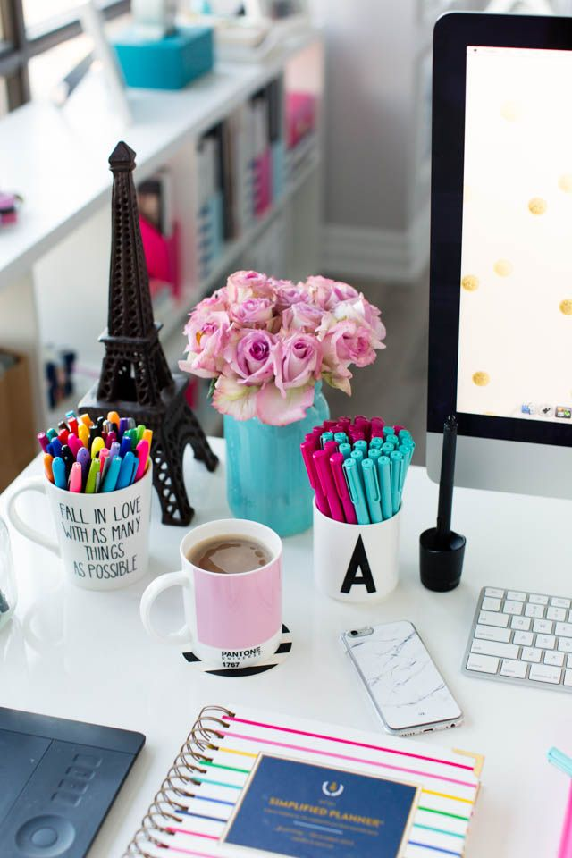 pink and blue desk accessories simplified planner - How To Decorate Office Room