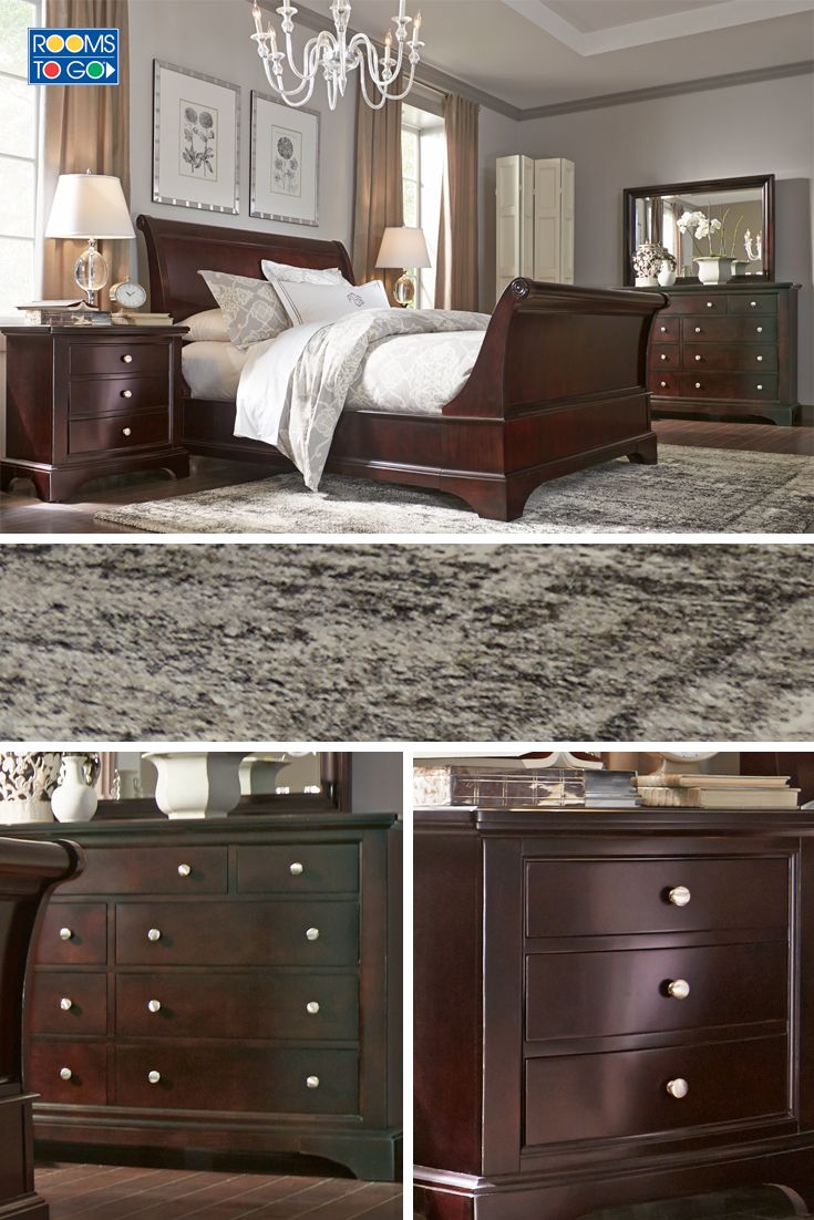 This handsome suite features elegant traditional styling with understated appeal. The stylish bed combines two wonderful styles - a sleigh headboard and low profile footboard.