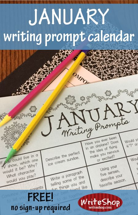 January writing prompt calendar for elementary grades • free from WriteShop