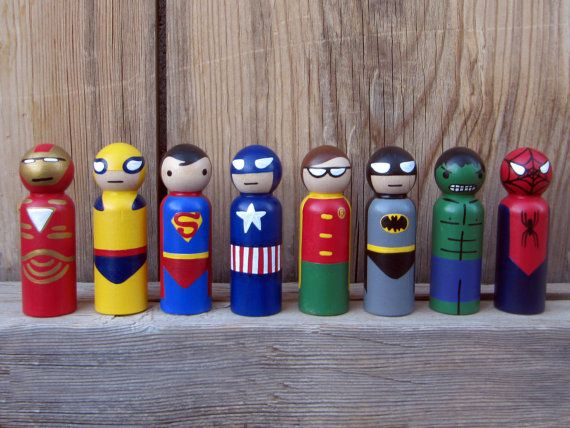 Superhero Peg People - Your choice of FOUR Heroes Wooden Hand Painted Peg dolls on Etsy, $52.71 AUD