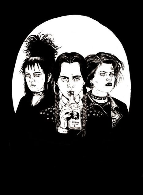 Lydia from Beetlejuice, Wednesday Addams, and Nancy from the Craft....  Art by Louise Z Pomeroy