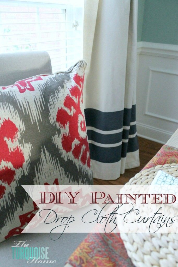 Do you need inexpensive and beautiful curtains?? Find out how to create your own painted drop cloth curtains. | DIY Painted Drop Cloth Curtains | Tutorial via TheTurquoiseHome.com