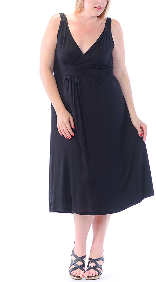 Black Empire-Waist Surplice Dress - Plus -- To view further for this item, visit the image link.