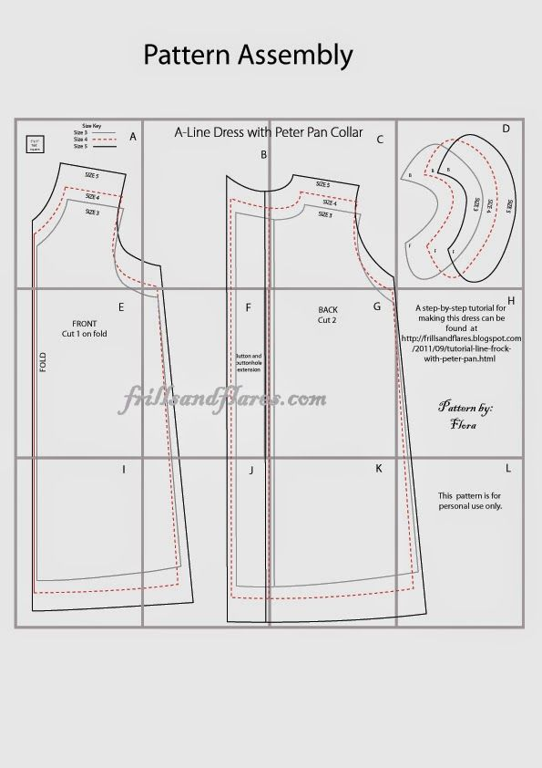 Today I am very excited to post the free pattern for the A-line dress with Peter pan collar for sizes 3, 4, and 5 as per the request of some...
