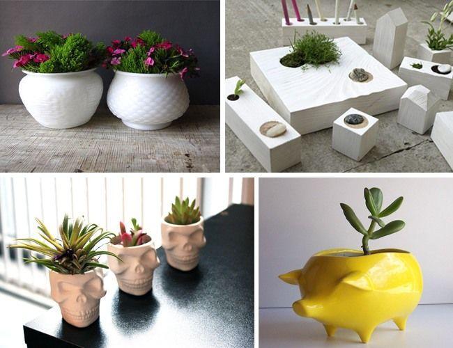 1. Pair of Milk Glass Planter Pots - 29$;  2. Miniature wooden Zen Garden - 59$; 3. Mini Ceramic Skull Planter - 18$; 4. Ceramic Pig Planter Vintage Design in Lemon Yellow - 18$.