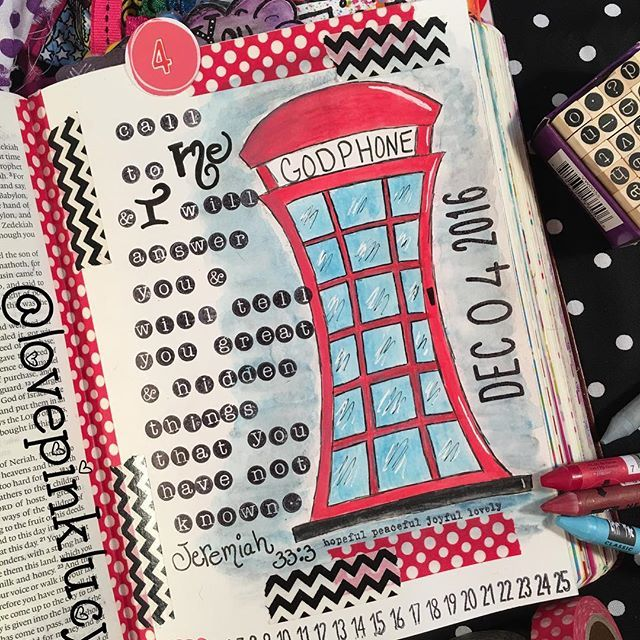 """December 4th. Another tip in since this is one of my most favorite scriptures ever & I've already journaled it. """"Call to me and I will answer you, and will tell you great and hidden things that you have not known."""" Jeremiah 33:3 #bibleartjournaling #illustratedfaith #bible #scripture #devotional #creativechristian #illustratedjournaling #biblejournalingcommunity #bibledoodling #worship #jesus #creativeworship #heartofworship #creatinginfaith #lovepinklucysbible #washi #washitape #watercol..."""