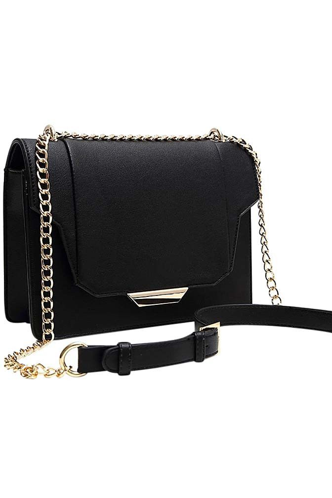 Vegan Leather Cross Body Bag With Gold Chain Strap